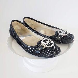 Michael Kors Black Velvet Silver Signature Flats 6